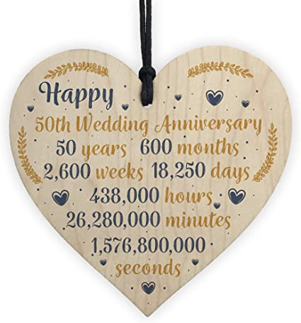 Red Ocean Happy 50th Wedding Anniversary Sign Gift Wooden Heart Fifty Years Husband Wife Keepsake Gift Plaque Amazon Co Uk Kitchen Home