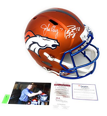 8b9418e1f Peyton Manning John Elway Denver Broncos DUAL Signed Autograph Rare BLAZE  Speed Full Size Helmet Elway