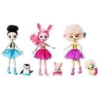 Enchantimals Coffret 3 Ballerines, Mini-poupées aux tutus assortis Preena Pingouin, Bree Lapin, Lorna Brebis et Figurines Animales, jouet enfant, FRH55