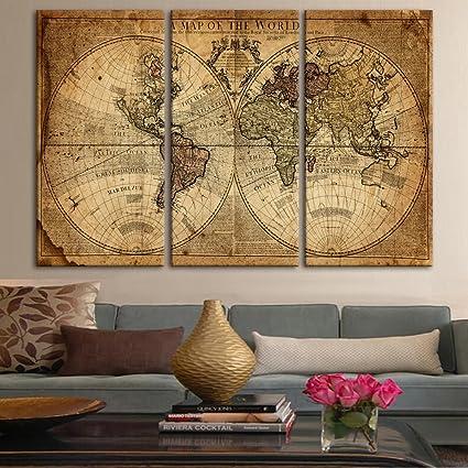Amazon.com: Wall Art Decor Canvas World Map, 3 Pieces Framed Large ...