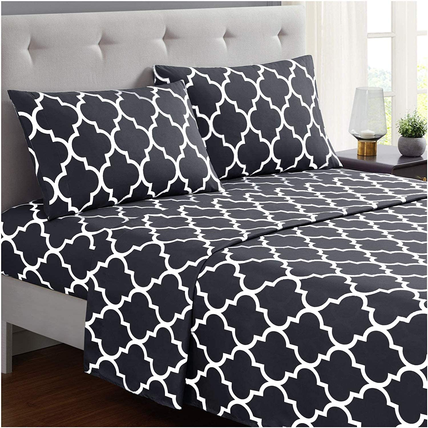 Mellanni Bed Sheet Set Queen-Dark-Gray - Brushed Microfiber Printed Bedding - Deep Pocket, Wrinkle, Fade, Stain Resistant - 4 Piece (Queen, Quatrefoil Dark Gray)