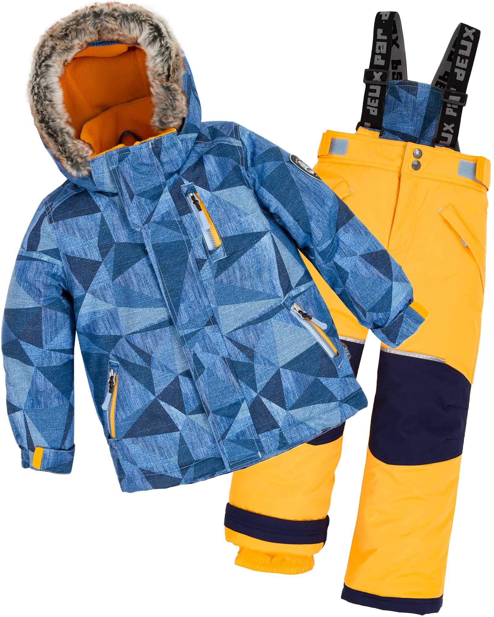 Deux par Deux Boys' 2-Piece Snowsuit Geo Jeans Yellow, Sizes 3-14 - 10