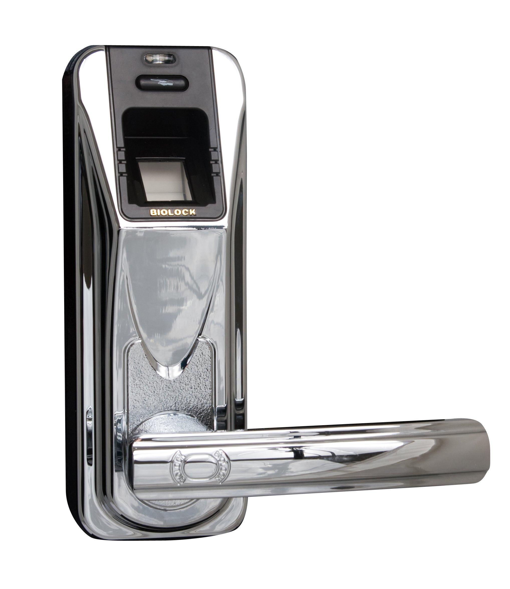 Biolock 426 Biometric Fingerprint Entry Door Lock, Polished Chrome with Black Accent
