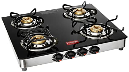 Ordinaire Prestige Marvel Glass Top 4 Burner Gas Table, Black