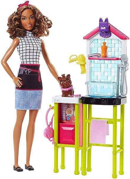 Toelettatura Barbie La Playset Per AccessoriMulticoloreFjb31 E CagnolinoTavolo ToelettatriceCon H2YIDW9E
