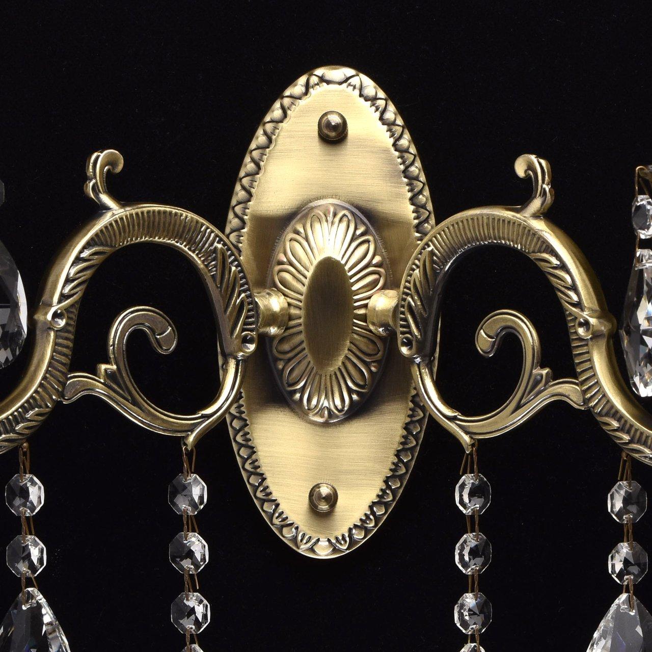 Klassische Kerzen Wandleuchte 1 flammig klares Kristall silberfarbiges Metall
