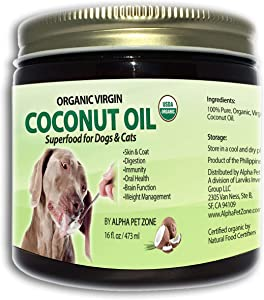 ALPHA PET ZONE Organic Virgin Coconut Oil for Dogs to Eat, Skin and Coat Superfood, Natural Digestive & Immune Support, 16 oz
