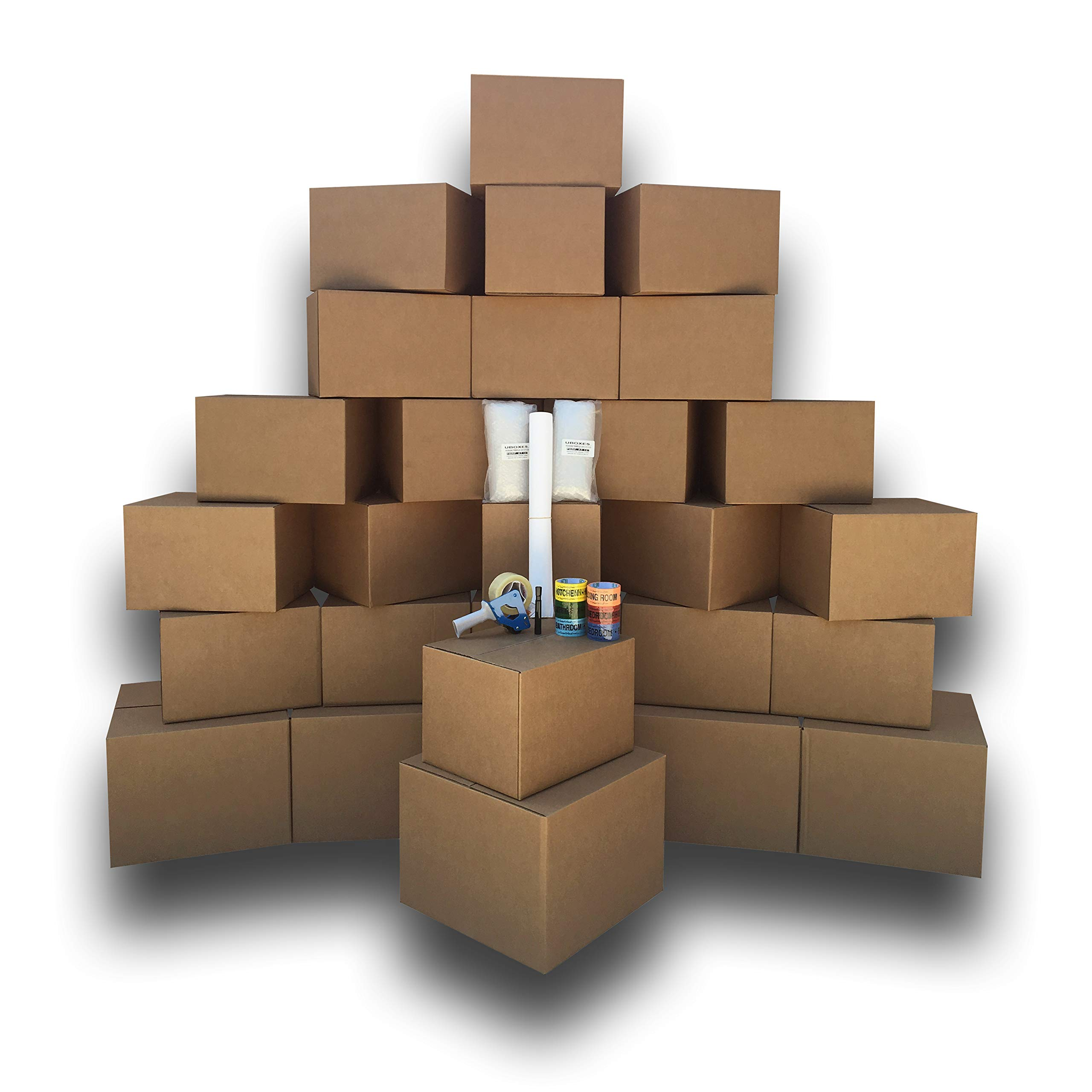 UBOXES Moving Boxes - 2 Room Bigger Smart Moving Kit - 28 Boxes,Tape, More