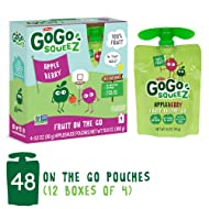 GoGo squeeZ Applesauce on the Go, Apple Berry, 3.2 Ounce (48 Pouches), Gluten Free, Vegan Friendly, Healthy Snacks, Unsweetened Applesauce, Recloseable, BPA Free Pouches