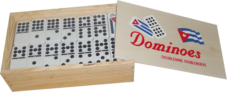 Cuban Dominoes Double Nine with Engraved Cuban Flag Art Deco Wood Box