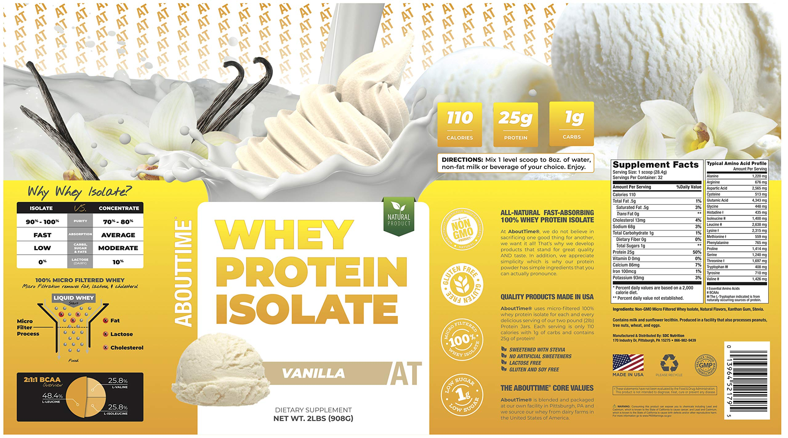 About Time Whey Isolate Protein, Non-GMO, All Natural, Lactose/Gluten Free, 25g of Protein Per Serving (Vanilla - 2 Pounds) by About Time