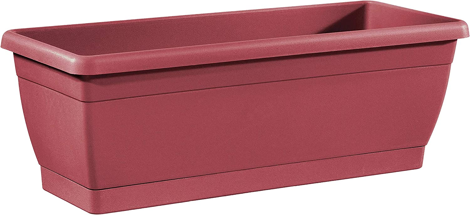 TABOR TOOLS Plastic 16 Inch Window Box Planter with Attached Saucer, for Indoor and Outdoor Use, Rectangular Trough Planter. VER505A. (Dark Red)