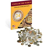 World Coin Collection Bundle 24 Coins from All Over the World + Magnifying Lens for Coins - Zaioo Coins of the World Collector Set - World Coins Kit