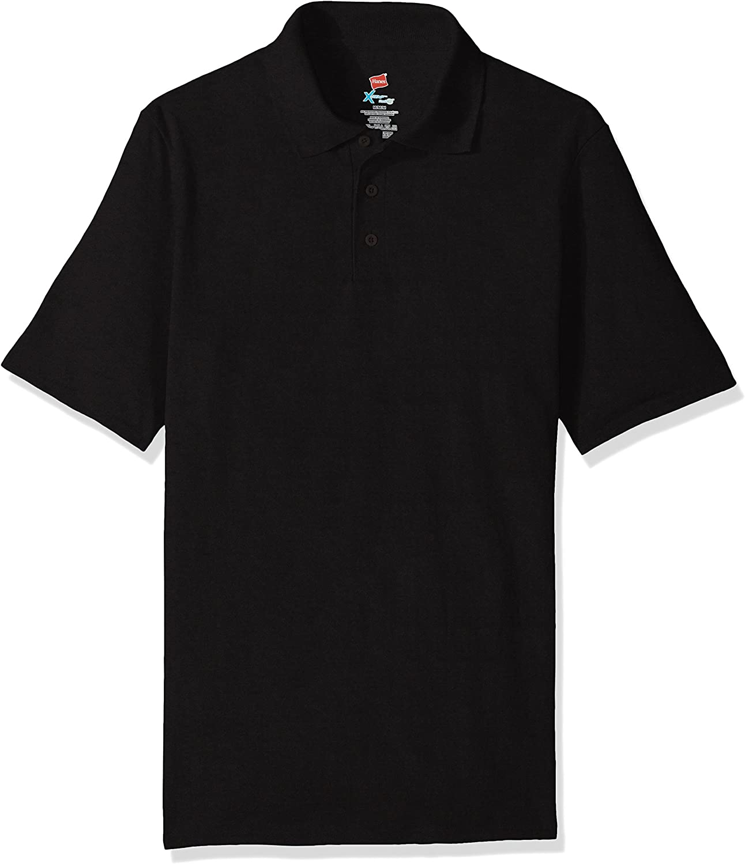 Hanes Men's Short Sleeve X-Temp W/ FreshIQ Polo, Black, Large