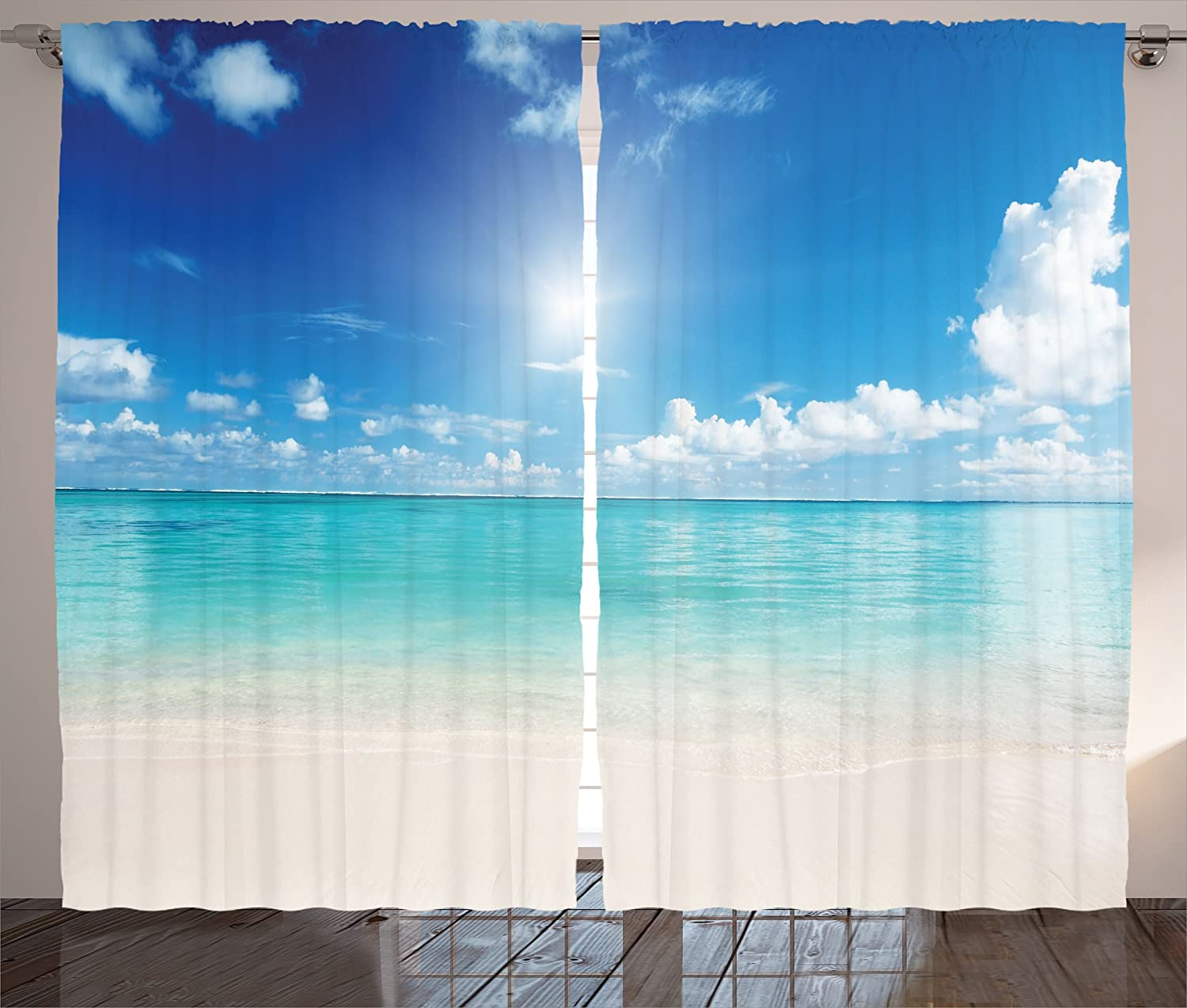 """Ambesonne Ocean Curtains, Sky and Sea Landscape Sand Tropical Beach Clouds Sun Hot Heaven Summer, Living Room Bedroom Window Drapes 2 Panel Set, 108"""" X 84"""", Turquoise White"""