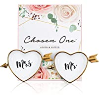 Mr and Mrs Ring Holder - Chosen One Ring Dish/Ring Holders for Jewelry/Trinket Tray Gift. Wedding Gifts for The Couple Just Married, Bridal Shower Gifts for Bride to Be, Engagement