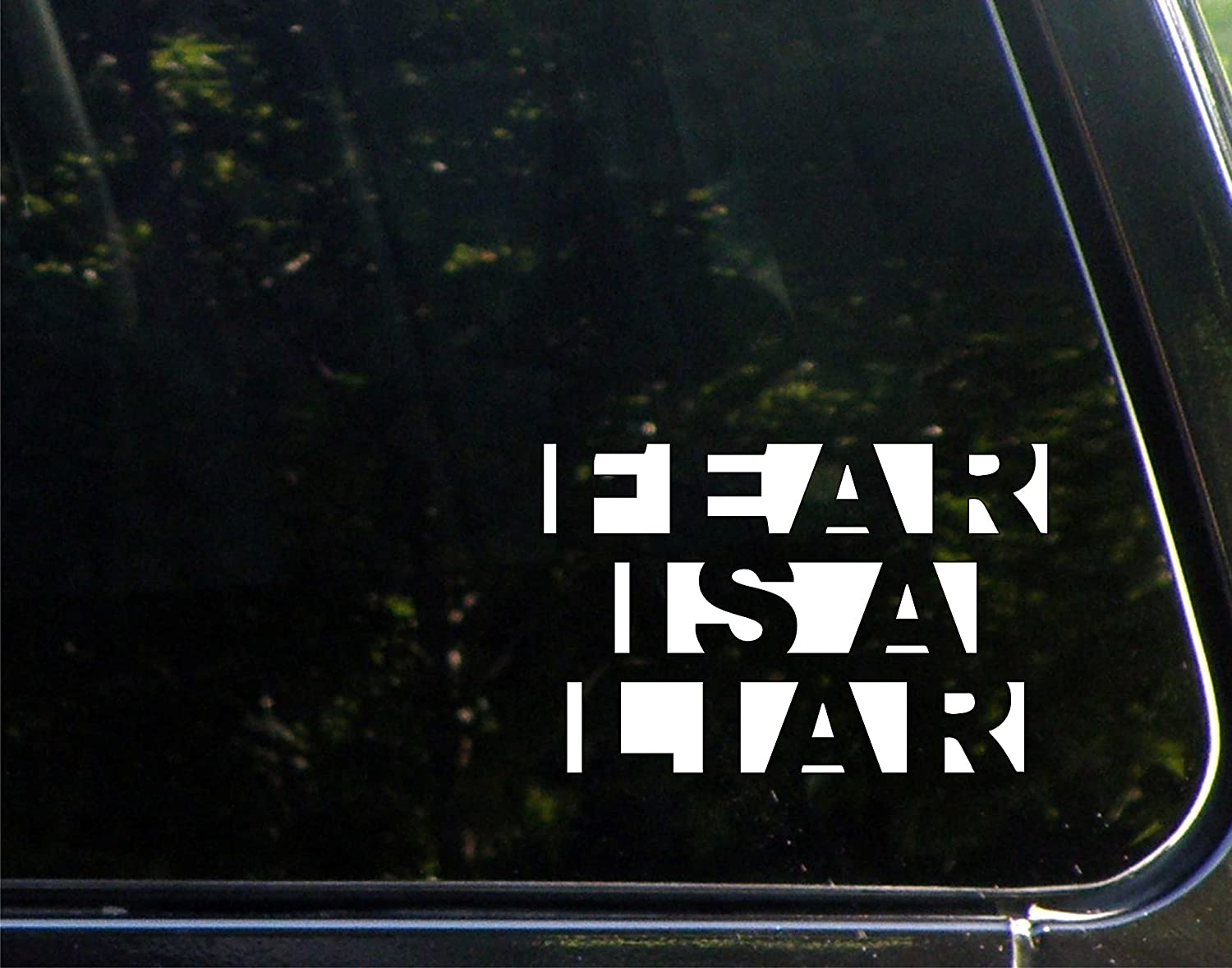 """Vinyl Productions Fear is A Liar - 5-3/4"""" x 3-3/4"""" - Decal Sticker for Cell Phones,Windows, Bumpers, Laptops, Glassware etc."""