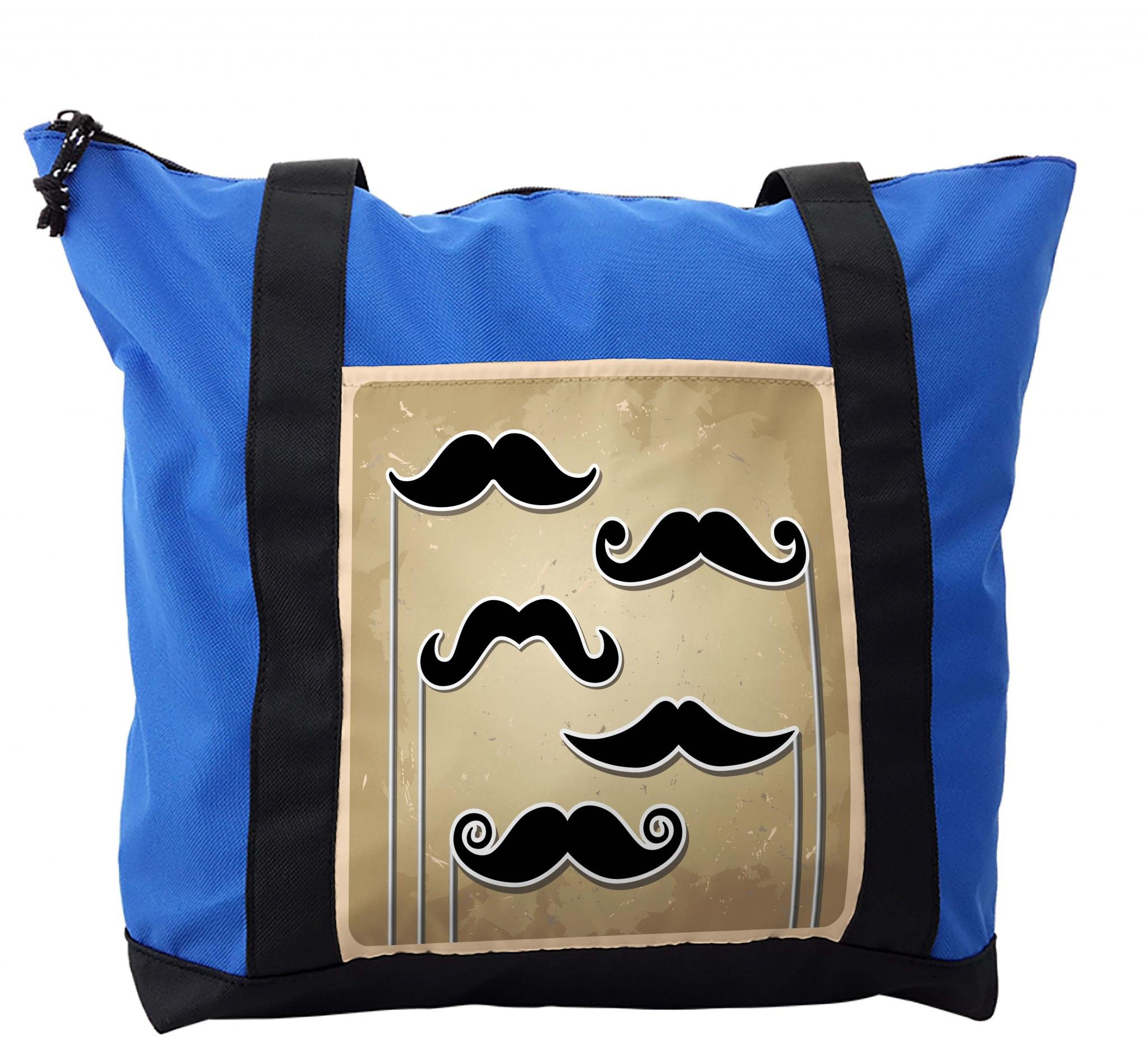 Lunarable Mustache Shoulder Bag, Stick Man Shapes Retro, Durable with Zipper