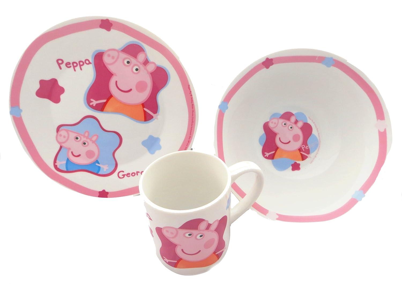 Peppa Pig Ceramic 3 Pce Children\u0027s Breakfast Set - Plate Bowl Cup Amazon.co.uk Kitchen \u0026 Home  sc 1 st  Amazon UK & Peppa Pig Ceramic 3 Pce Children\u0027s Breakfast Set - Plate Bowl Cup ...