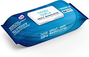 """Handybath Incontinence Adult Washcloths with Fresh Scent for Senior Care or Outdoor activities - Extra Large 12 x 9"""" Towels - Personal Cleaning Wipes with Aloe Chamomile - no Rinse - 64 Count Pack"""