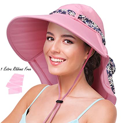 Image Unavailable. Image not available for. Color  Womens Sun Hats Neck  Flap Large Brim UV Protection Foldable Fishing Hiking Beach Cap abf674a66270