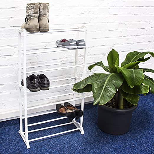 relaxdays 7tier metal shoe rack for upto 21 pairs of shoes white amazoncouk kitchen u0026 home