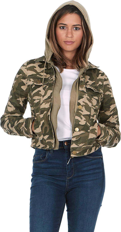 JOUJOU Women's Camo Wash Hooded Denim Jacket