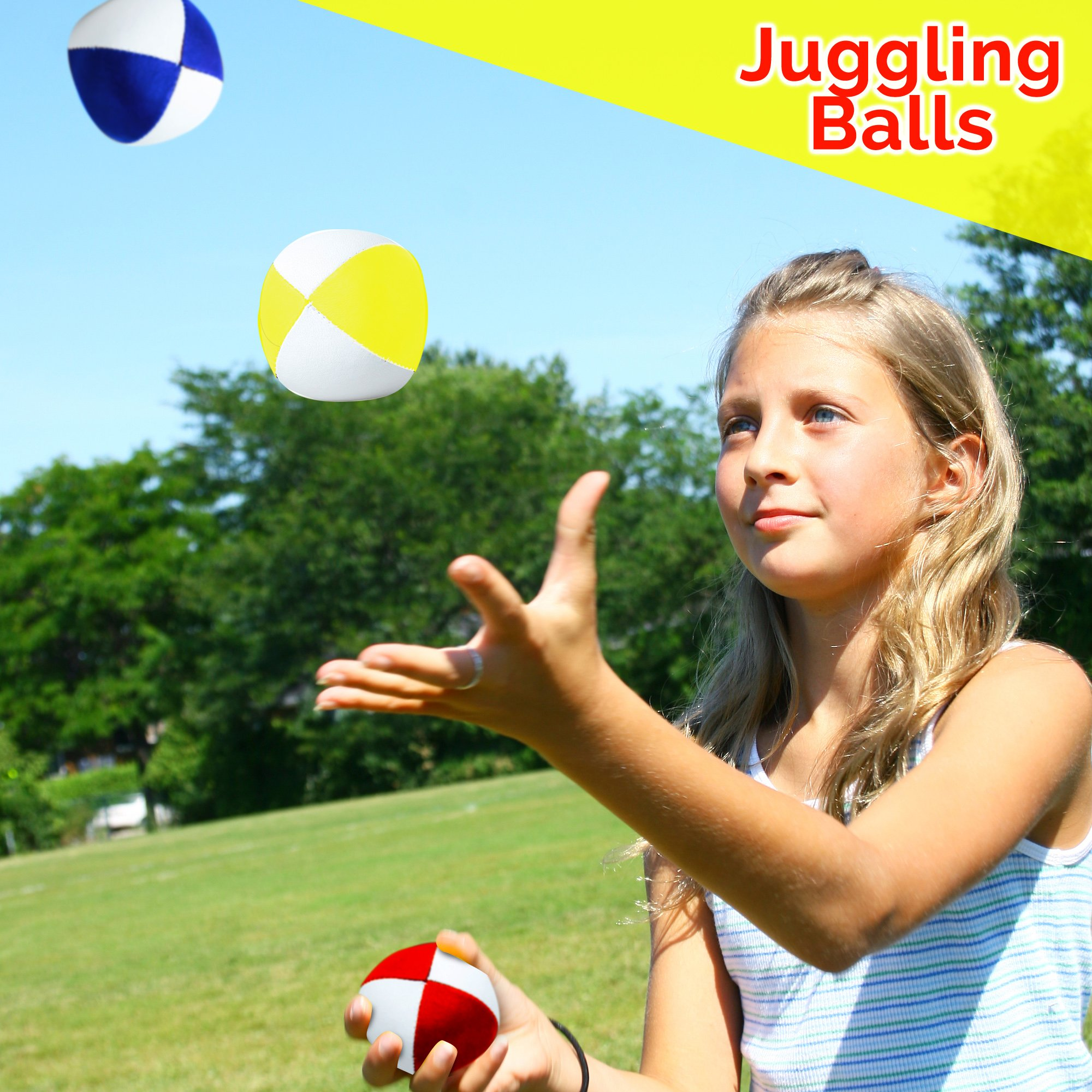 Beginners Juggling Kit - Balls (3), Pins (3), Plates (3), Rings (3), Chinese Yoyo Diabolo Advanced Set Cool Fun Unique Toy Gift Set For Boys and Girls by Juggle Mania (Image #3)