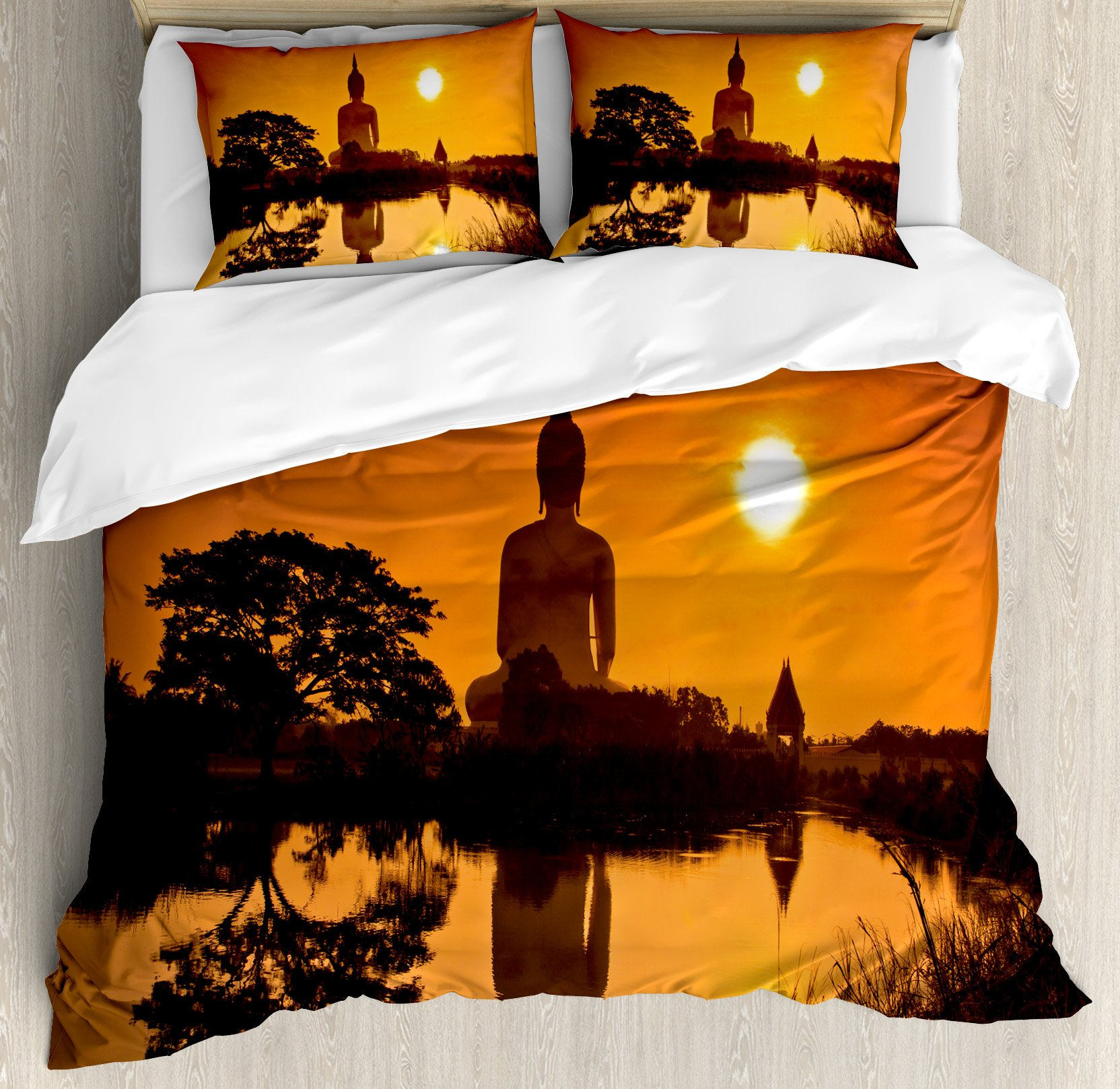 Asian Decor King Size Duvet Cover Set by Ambesonne, Big Giant Statue by the River at Sunset Thai Asian Culture Scenery Zen Print, Decorative 3 Piece Bedding Set with 2 Pillow Shams, Burnt Orange by Ambesonne