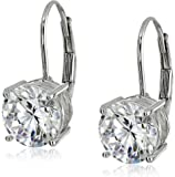 Platinum or Gold Plated Sterling Silver Round-Cut Cubic Zirconia Leverback Earrings (3 cttw)