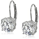 Amazon Price History for:Platinum or Gold Plated Sterling Silver Round-Cut Cubic Zirconia Leverback Earrings (3 cttw)