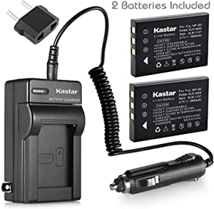 Kastar FNP60 Battery (2-Pack) and Charger Kit for HP PhotoSmart R07 R507 R607 R607v R607xi R707 R707v R707xi R717 R725 R727 R817 R817v R817xi R818 R827 R837 R847 R926 R927 R937 R967
