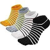 PUTUO Chaussettes Orteils Femme Chaussettes à doigts de Sport en Coton, Doigts de Pied Séparés Chaussettes pour Femmes, 4 paires