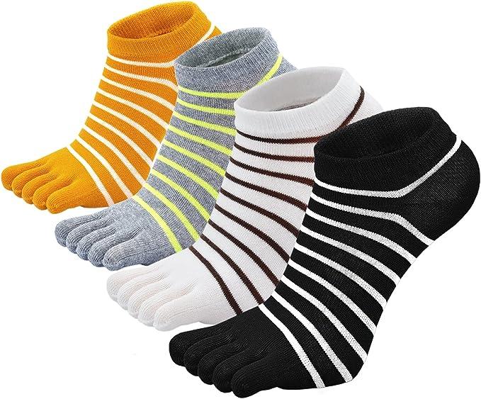 1-5 Paar Zehensocken Baumwolle Ringelzehen Zehenstrumpf schwarz /& weiß Unisex