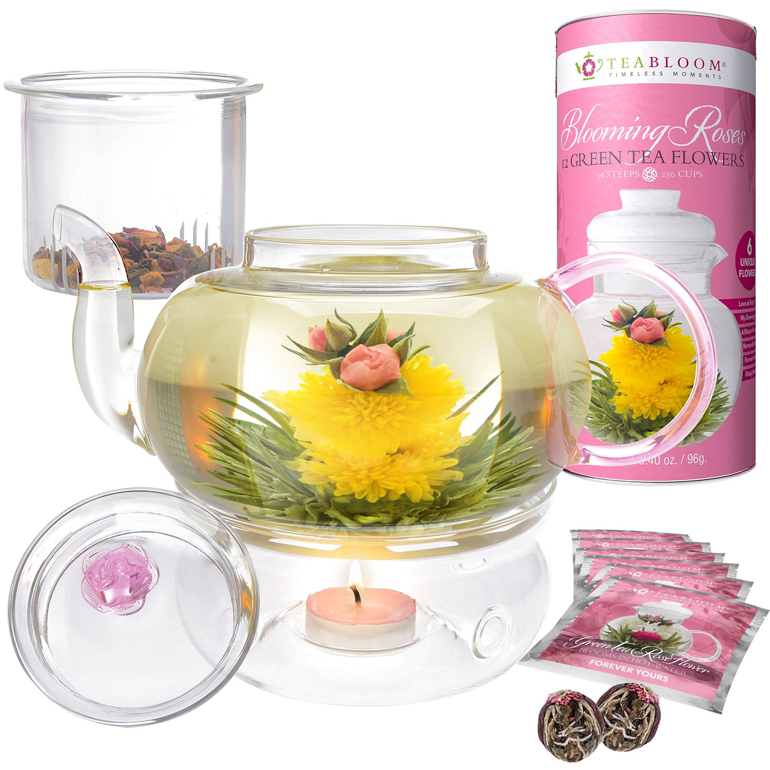 Teabloom Pretty in Pink Rose Tea Gift Set - Includes 34 oz Stovetop Safe Glass Teapot, 12 Rose Flowering Teas, Removable Loose Tea Glass Infuser, Glass Tea Warmer + Tea Light - Dishwasher Safe by Teabloom