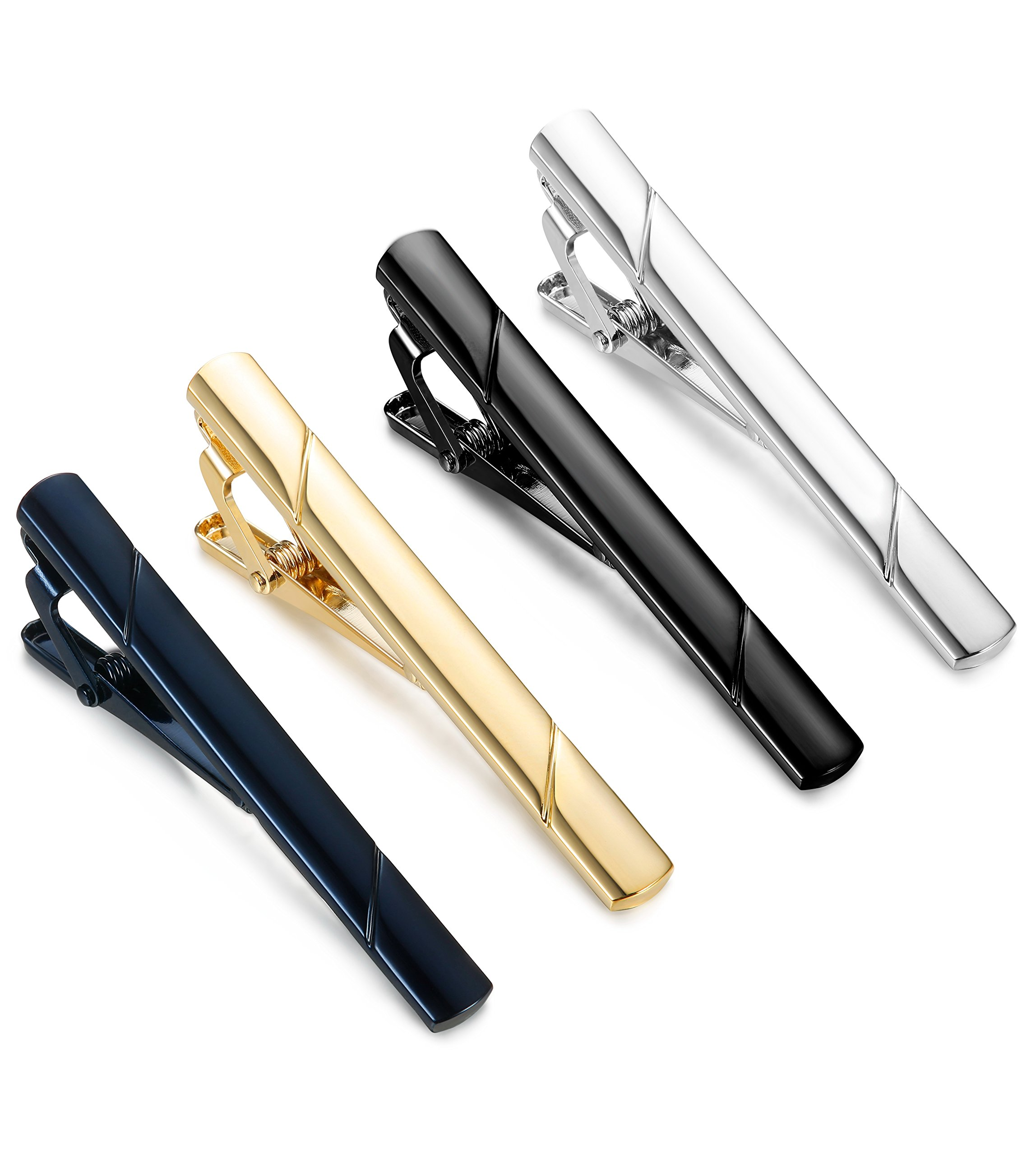 Jstyle 4 Pcs Tie Clips for Men Tie Bar Clip Set for Regular Ties Necktie Wedding Business Clips by Jstyle (Image #1)
