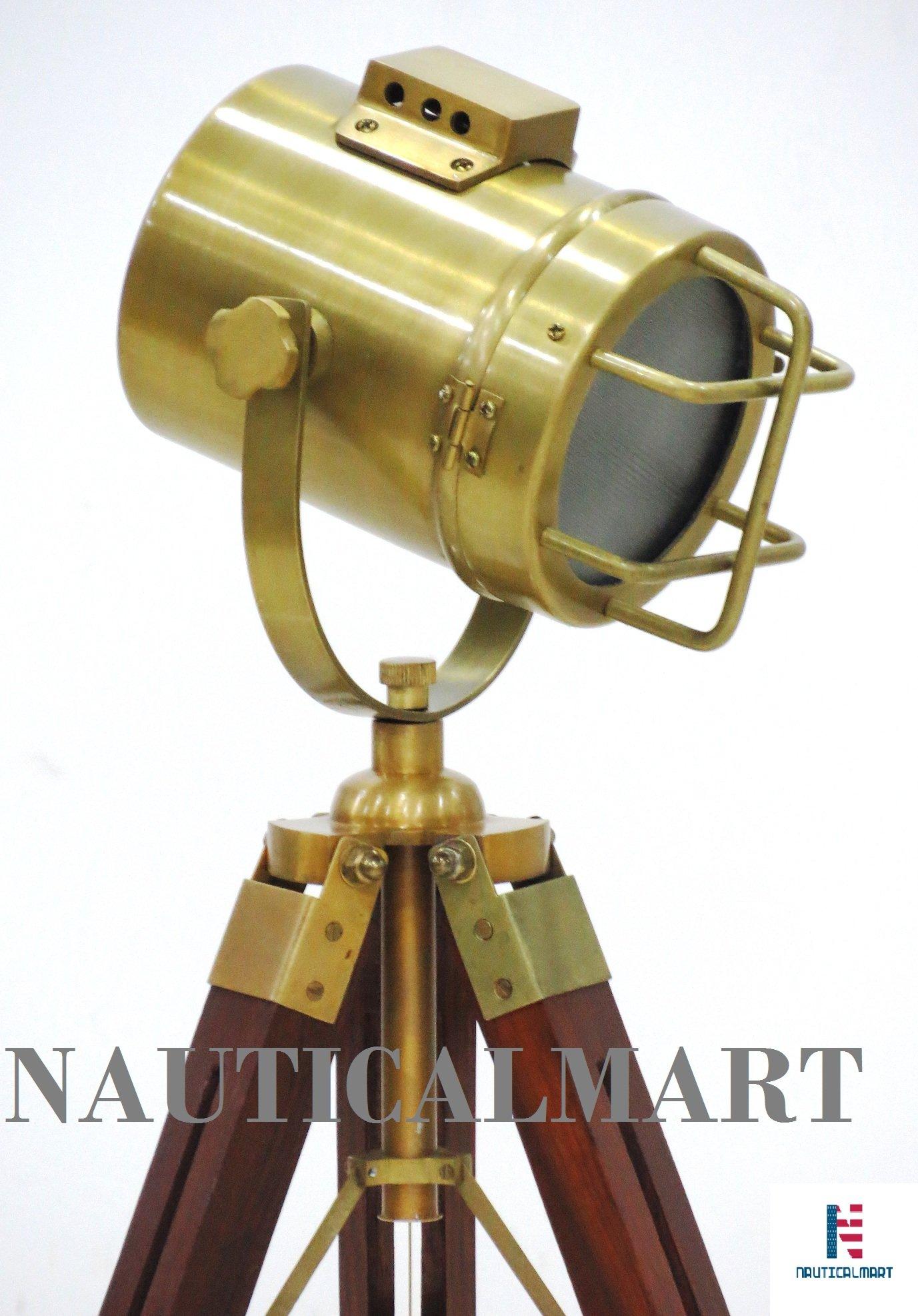 NauticalMart Antique Brass Nautical Searchlight Wooden Tripod Stand
