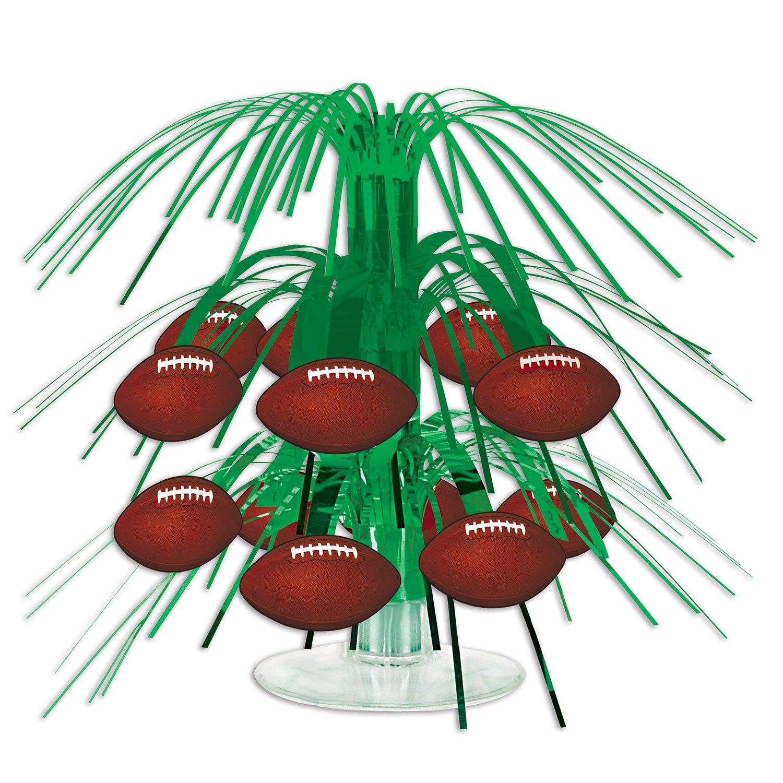 Beistle 54104 Football Mini Cascade Centerpiece, 7.5, Green/Brown/White (Value 3-Pack)