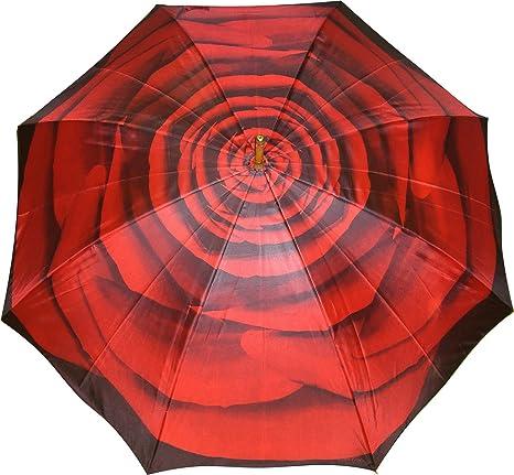 Paraguas Mujer – Manual – Paraguas Flor Rosa Rojo