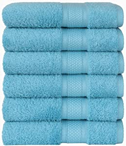 COTTON CASTLE Hand Towels Premium Original Turkish Cotton Set of 6-Piece Hand Towel with Hanging Loops for Kitchen Decor and Body Eco Friendly Soft Highly Absorbent Naturel Durable 16