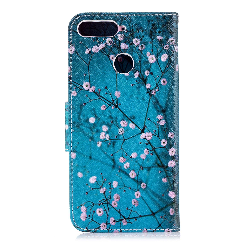 Cuero De La PU Magn/ético Capirotazo Billetera Apoyo Bumper Protector Cover Funda Carcasa Case Huawei Honor 7A Funda para Huawei Y6 2018 Mala Sonrisa