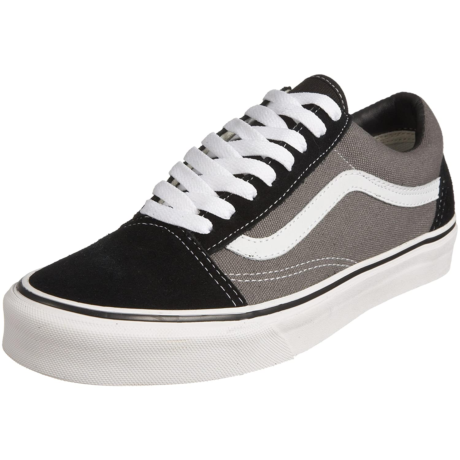 Vans Unisex Old Skool Classic Skate Shoes B003S0R3FO Men's 9, Women's 10.5 Medium|Black/Pewter