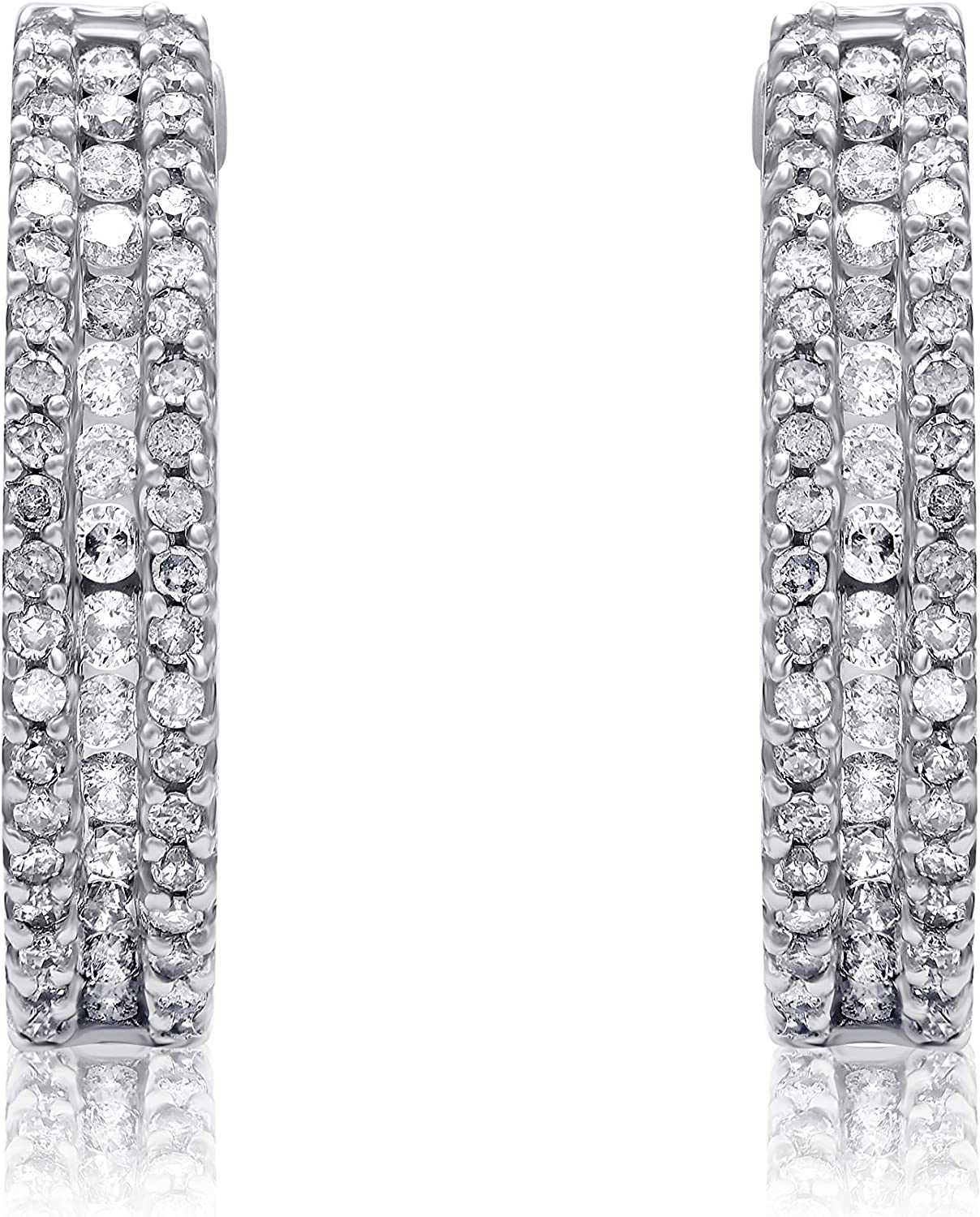 1/2 Carat Natural Diamond Earrings 10K White Gold (I-J Color, I3 Clarity) Diamond Studded Huggie Earrings for Women Diamond Jewelry Gifts for Women