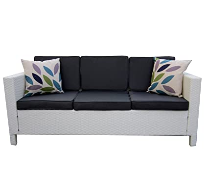 LuxuryGarden - Conjunto de sofás de salón de esquina, de ratán sintético, muebles de jardín blancos