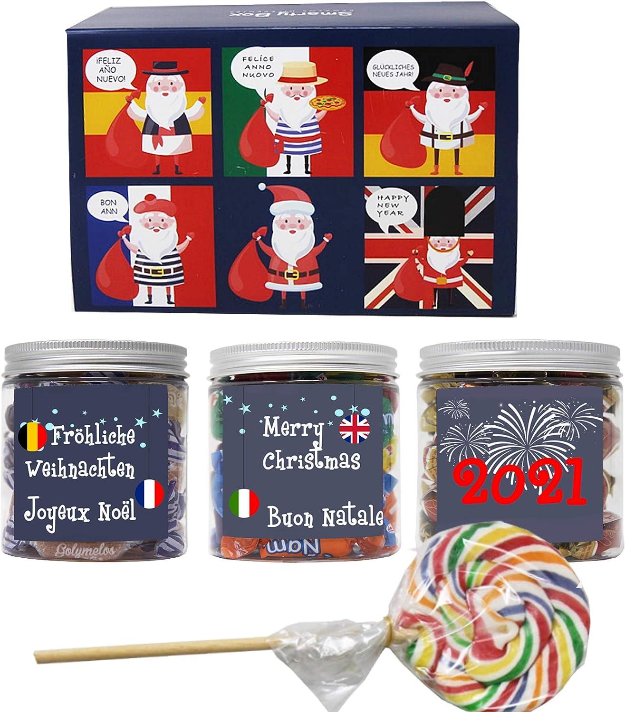 SMARTY BOX Caja Papá Noel Regalo original de Caramelos y Gominolas Navidad, Surtido Chuches, Chucherías sin Gluten Caramelos Toffee, Masticables frutas y Gominolas Naturales, Golosinas