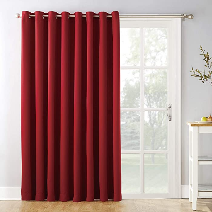 """Sun Zero Easton Extra-Wide Blackout Sliding Patio Door Curtain Panel with Pull Wand, 100"""" x 84"""", Red"""