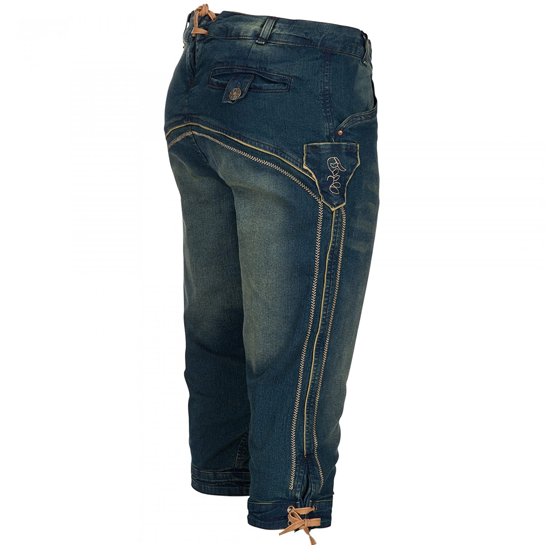PAULGOS Herren Trachten Jeans in Optik Trachten Lederhose Kniebund Blau