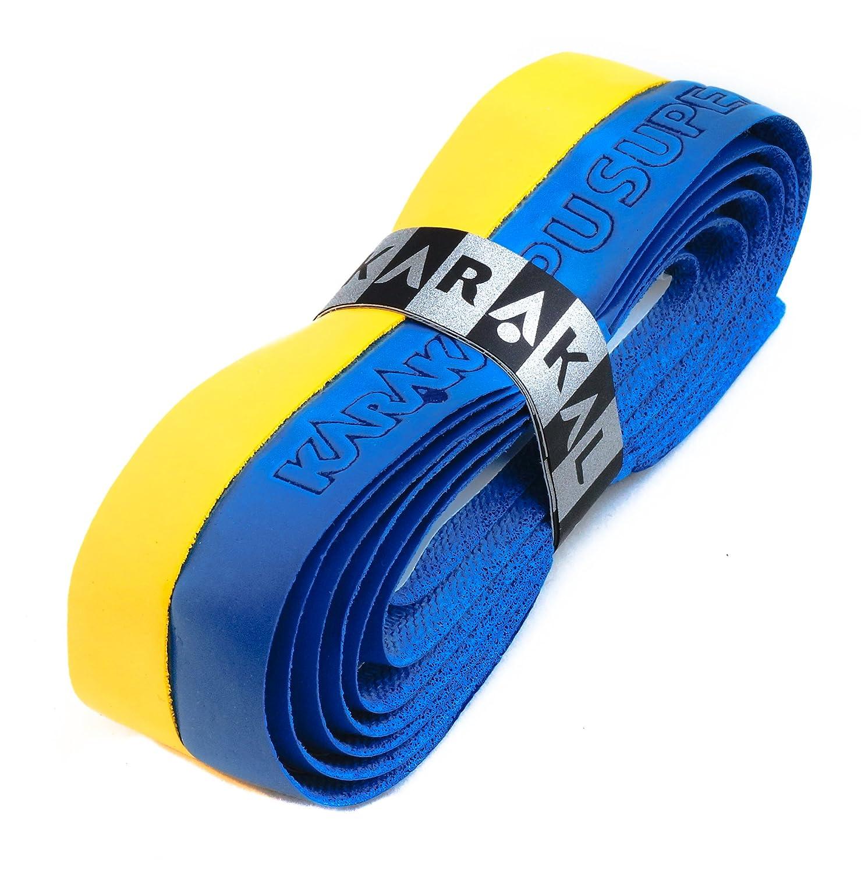 Karakal PU Supergrip replacement racquet grip - tennis / badminton / squash - Yellow / Blue x 1