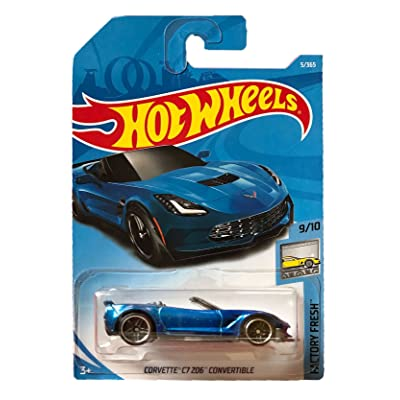 Hot Wheels 2020 50th Anniversary Factory Fresh Corvette C7 Z06 Convertible 5/365, Blue: Toys & Games