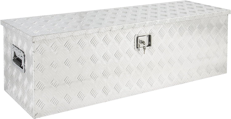MILLION PARTS 49 Black Aluminum Truck Bed Underbody Tool Box Pickup Trailer RV Tongue Tool Storage Box W//Lock